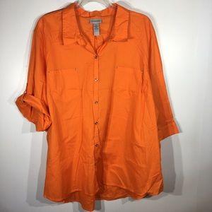 NWT Catherine's Button up shirt orange Tunic